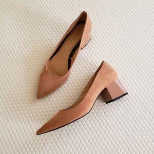 Zara Shoe pink peach suede patent block heel
